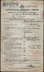 HAINES George Guthridge : Service Number - 5558 : Place of Birth - Allendale VIC : Place of Enlistment - Melbourne VIC : Next of Kin - (Mother) HAINES A Minnie