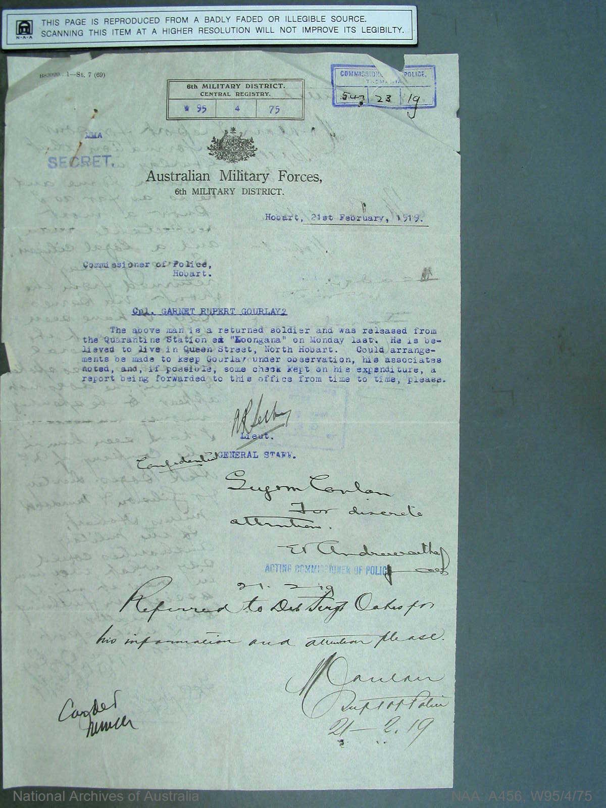 War Precautions Act. Disloyal utterance Cpl. Garnett Gourley.