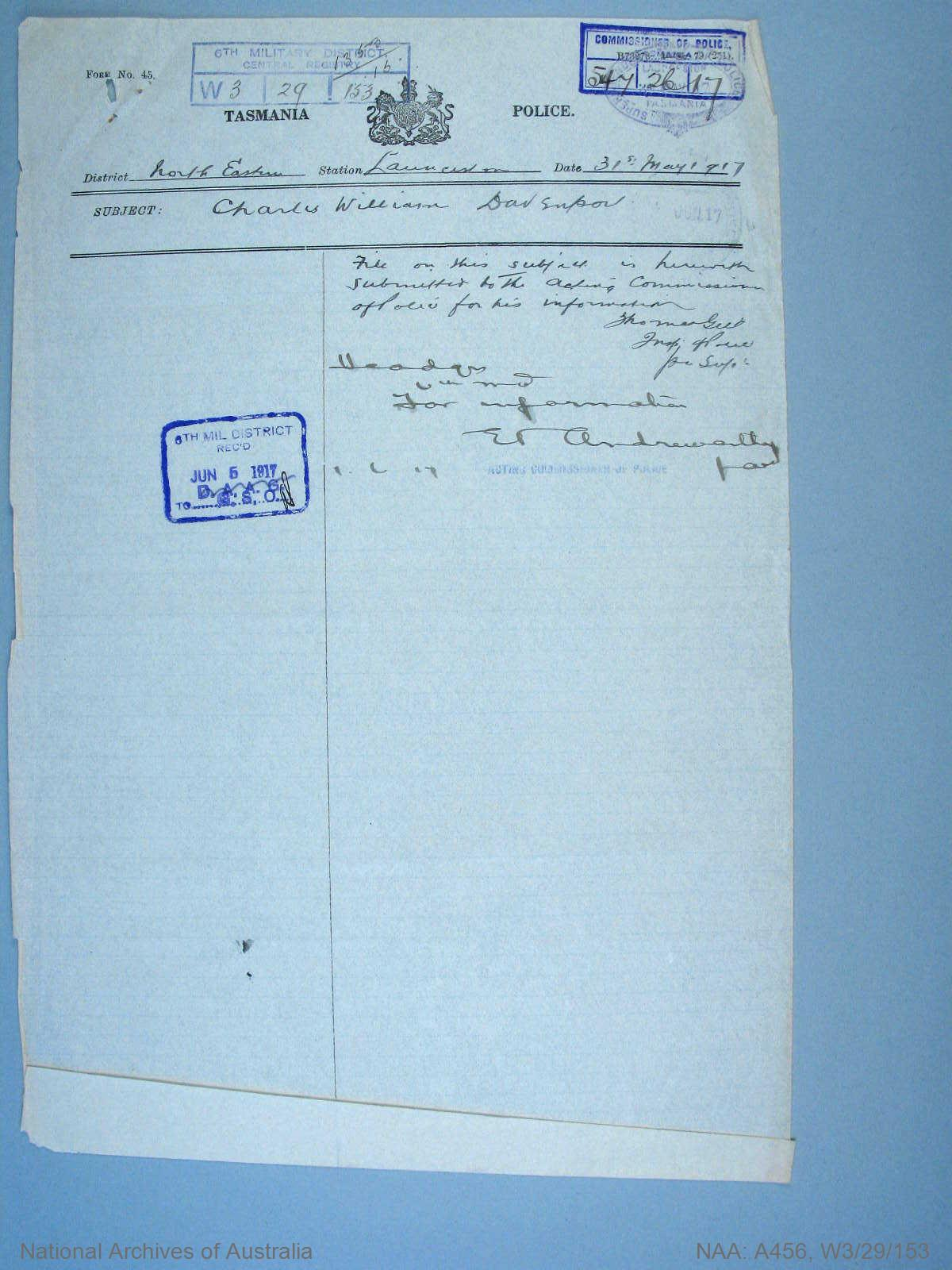 War Precautions Act. Charles William Davenport.