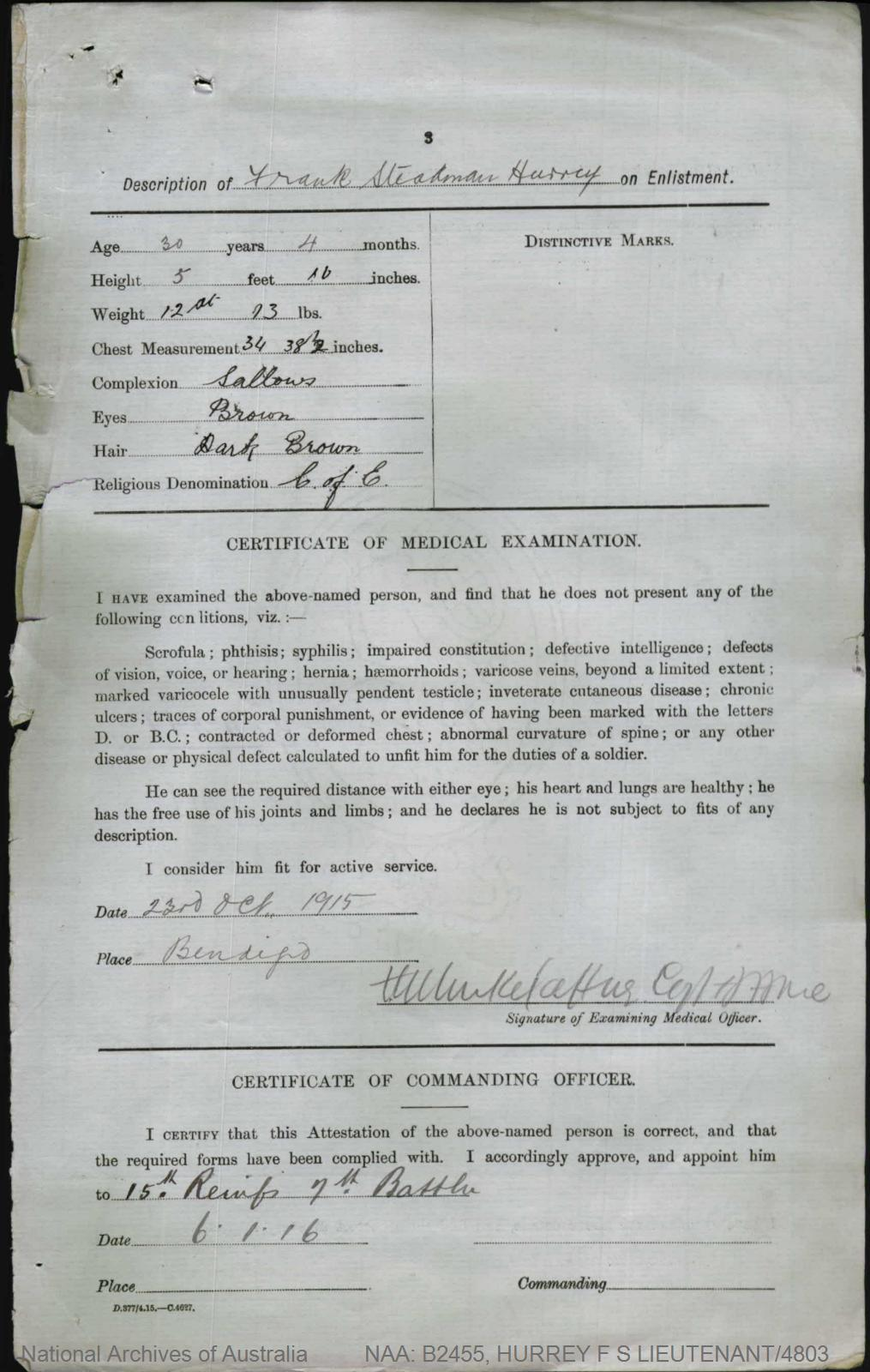 HURREY Frank Steadman : Service Number - Lieutenant/4803 : Place of Birth - Melbourne Vic : Place of Enlistment - Bendigo Vic : Next of Kin - (Father) HURREY Alfred Clarke
