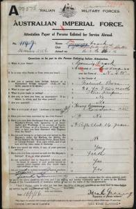 GUNNING Frank : Service Number - 2156 : Place of Birth - Cooma NSW : Place of Enlistment - Cooma NSW : Next of Kin - (Father) GUNNING Henry