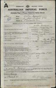 GUNNYON Walter : Service Number - 631 : Place of Birth - Stawell VIC : Place of Enlistment - Fremantle WA : Next of Kin - (Mother) GUNNYON Martha Jane