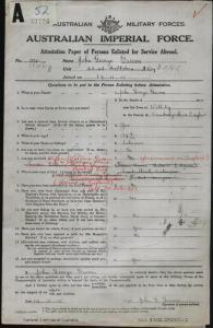 GROOM John George : Service Number - 1846 : Place of Birth - Cambridgeshire England : Place of Enlistment - Rockhampton QLD : Next of Kin - (Wife) GROOM Ethel May