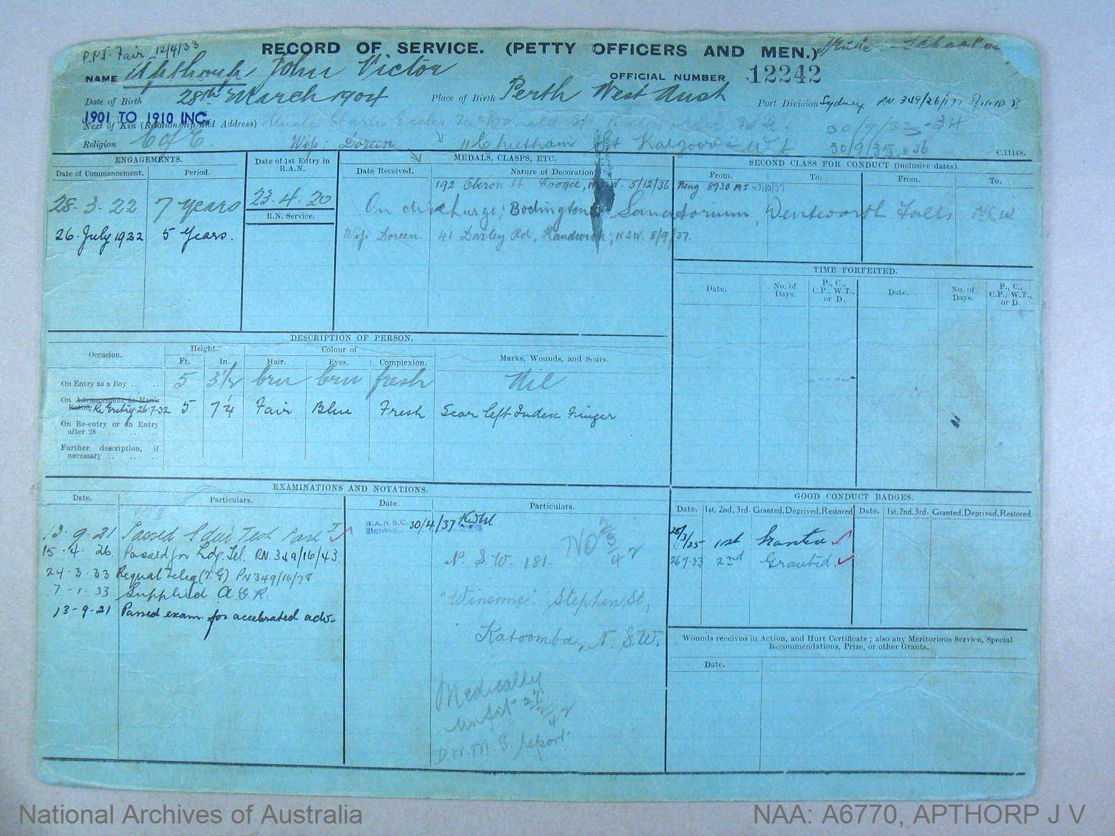 APTHORP JOHN VICTOR : Service Number - 12242 : Date of birth - 28 Mar 1904 : Place of birth - PERTH WA : Place of enlistment - SYDNEY : Next of Kin - APTHORP DOREEN