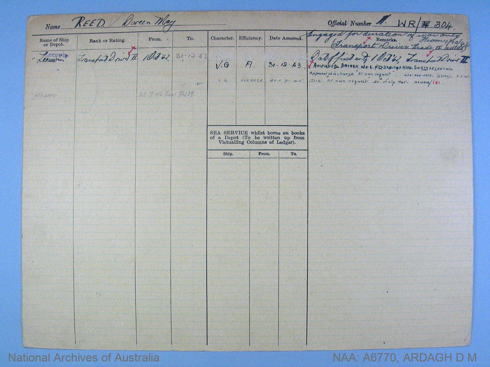 ARDAGH DOREEN MAY : Service Number - WR/304 : Date of birth - 04 Apr 1904 : Place of birth - PERTH WA : Place of enlistment - FREMANTLE : Next of Kin - REED ANNIE