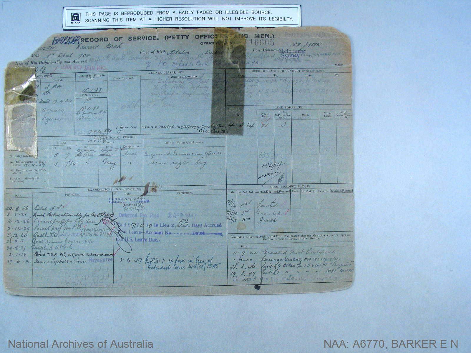 BARKER EDWARD NOAH : Service Number - 10605 : Date of birth - 18 Apr 1904 : Place of birth - KITCHIN UNKNOWN : Place of enlistment - SYDNEY : Next of Kin - BARKER EILEEN