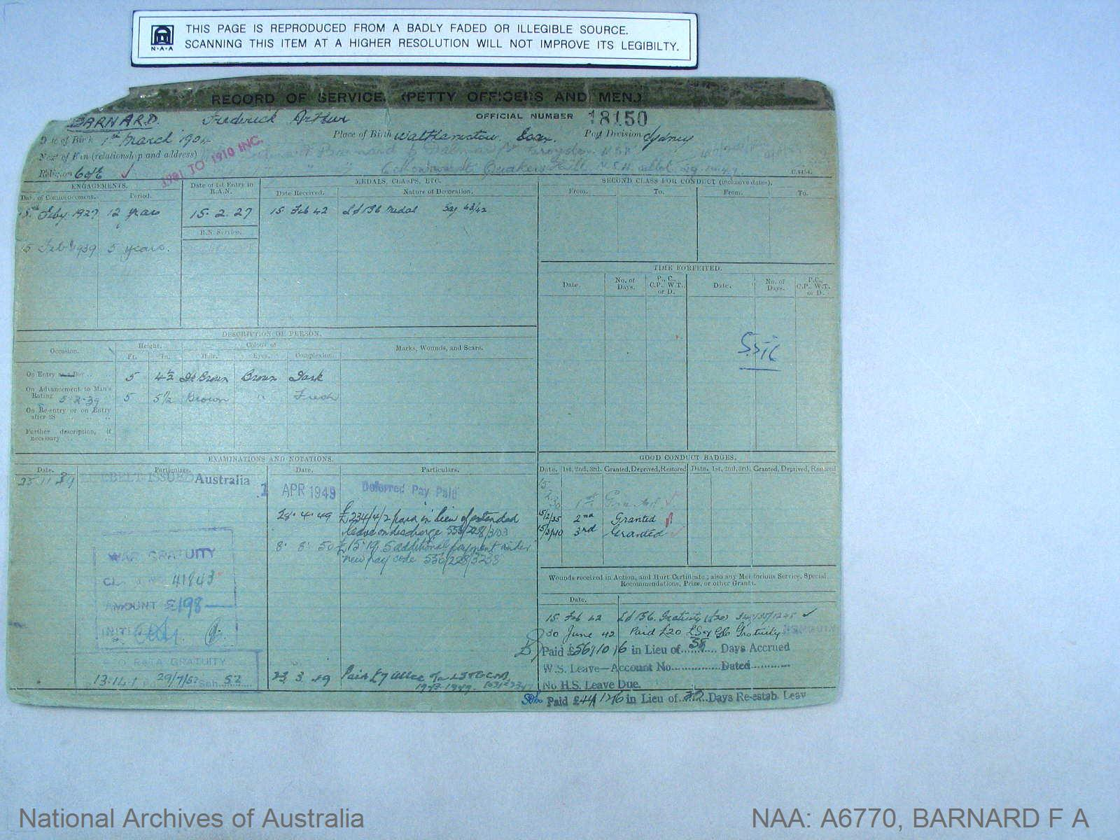 BARNARD FREDERICK ARTHUR : Service Number - 18150 : Date of birth - 01 Mar 1904 : Place of birth - WALTHEMSTOW ESSEX : Place of enlistment - SYDNEY : Next of Kin - BARNARD SELINA