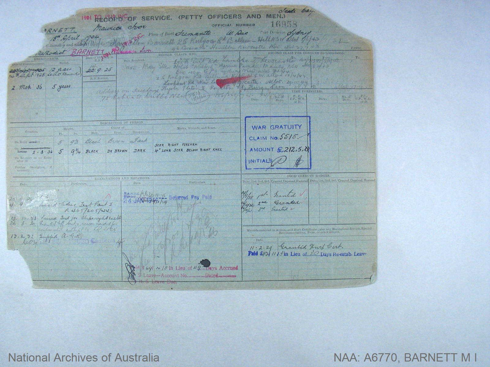 BARNETT MAURICE IVOR : Service Number - 16958 : Date of birth - 18 Apr 1904 : Place of birth - FREMANTLE W AUS : Place of enlistment - SYDNEY : Next of Kin - BARNETT MARY