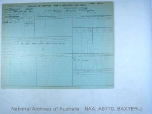 BAXTER JOSEPH : Service Number - 17726 : Date of birth - 23 Feb 1904 : Place of birth - BRISBANE QUEENSLAND : Place of enlistment - SYDNEY : Next of Kin - BAXTER MARY