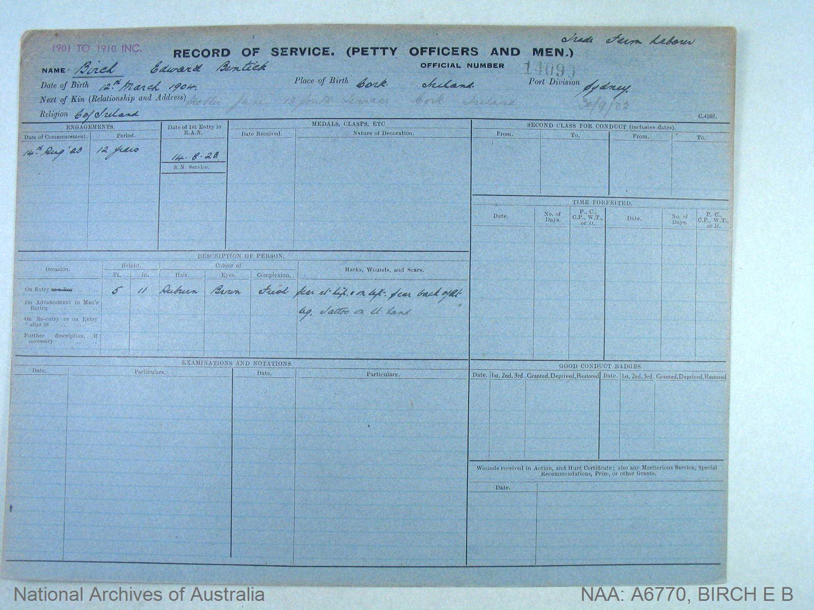 BIRCH EDWARD BERTICK : Service Number - 14090 : Date of birth - 12 Mar 1904 : Place of birth - CORK IRELAND : Place of enlistment - SYDNEY : Next of Kin - BIRCH JANE