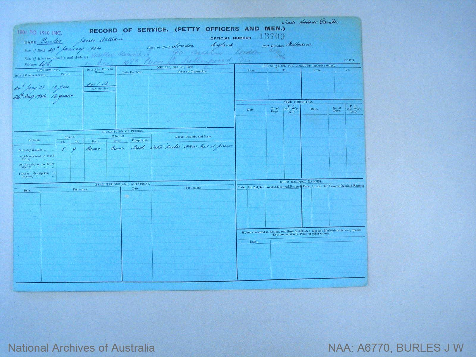 BURLES JAMES WILLIAM : Service Number - 13709 : Date of birth - 29 Feb 1904 : Place of birth - LONDON ENGLAND : Place of enlistment - MELBOURNE : Next of Kin - BURLES MINNIE