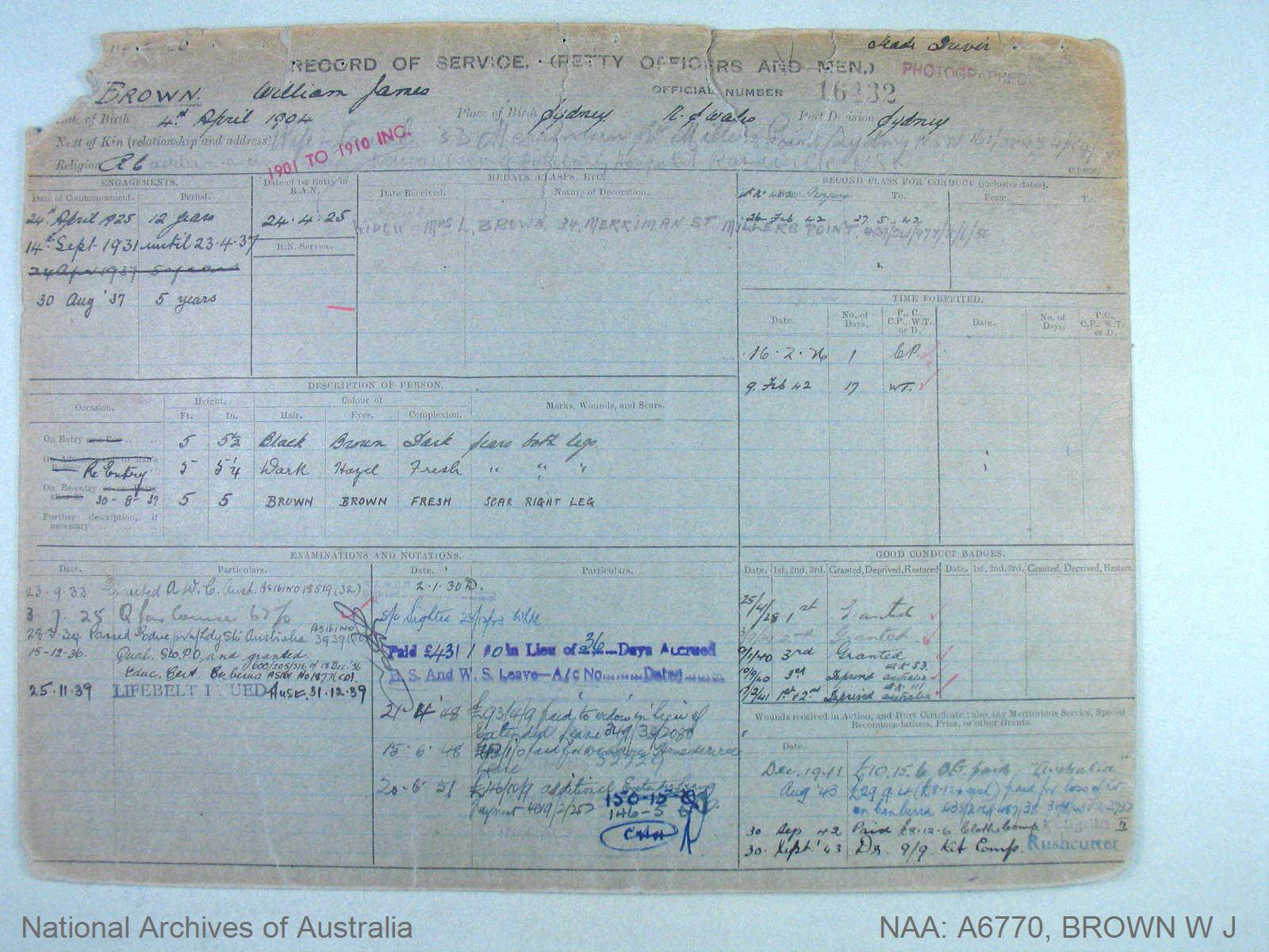 BROWN WILLIAM JAMES : Service Number - 16432 : Date of birth - 04 Apr 1904 : Place of birth - SYDNEY NSW : Place of enlistment - SYDNEY : Next of Kin - BROWN LAUREL