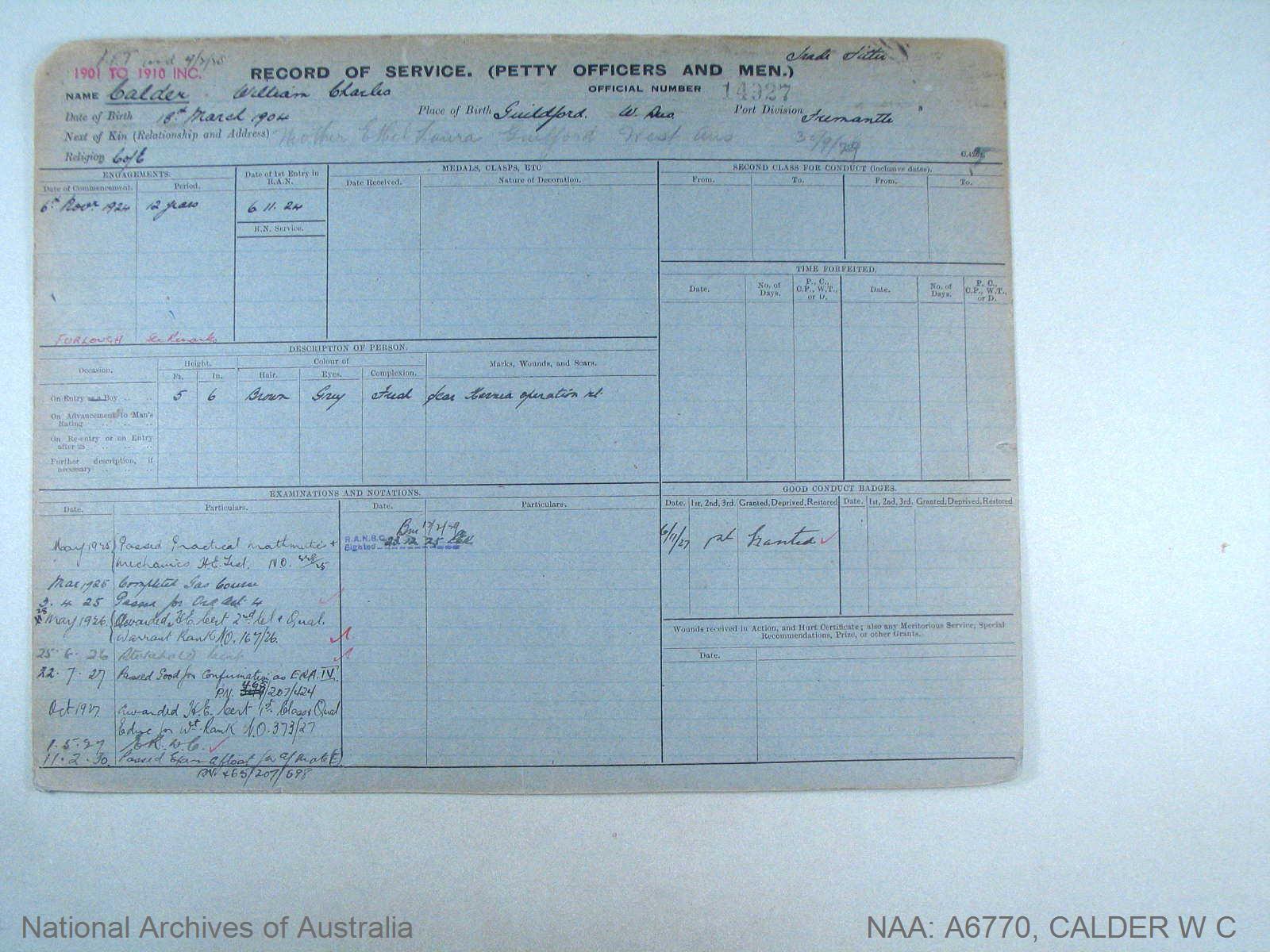 CALDER WILLIAM CHARLES : Service Number - 14927 : Date of birth - 18 Mar 1904 : Place of birth - GUILDFORD WA : Place of enlistment - FREMANTLE : Next of Kin - CALDER ETHEL
