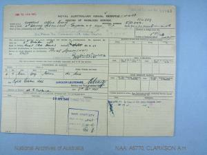 CLARKSON ALFRED HENRY : Service Number - F/V339 : Date of birth - 21 Feb 1904 : Place of birth - GERALDTON WA : Place of enlistment - FREMANTLE WA : Next of Kin - CLARKSON LOIS