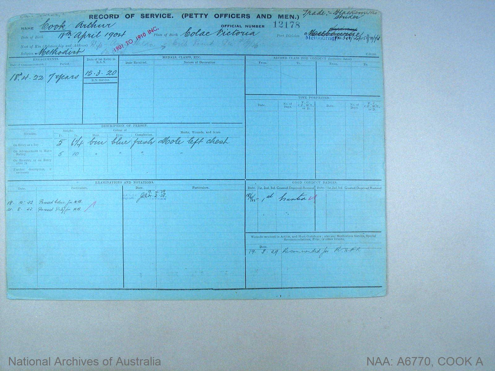 COOK ARTHUR : Service Number - 12178 : Date of birth - 18 Apr 1904 : Place of birth - COLAC VIC : Place of enlistment - MELBOURNE : Next of Kin - COOK AMY