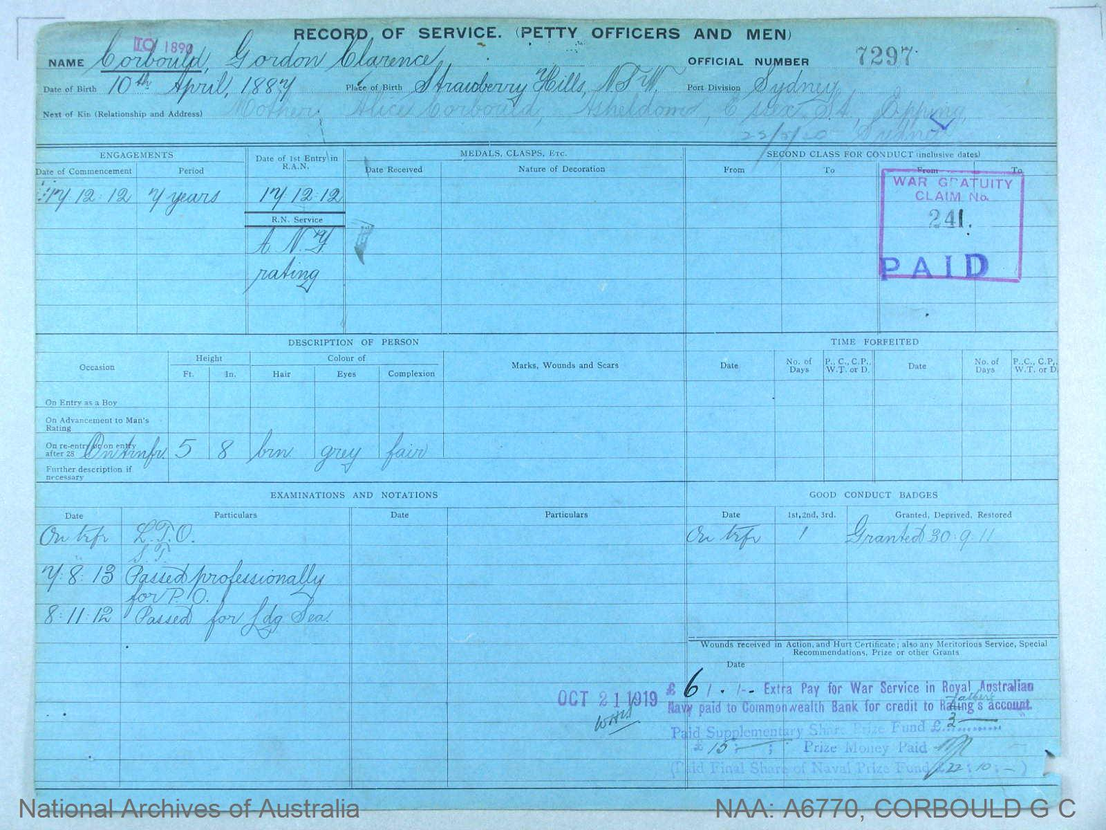 CORBOULD GORDON CLARENCE : Service Number - 7297 : Date of birth - 10 Apr 1887 : Place of birth - STRAWBERRY HILLS NSW : Place of enlistment - SYDNEY : Next of Kin - CORBOULD ALICE