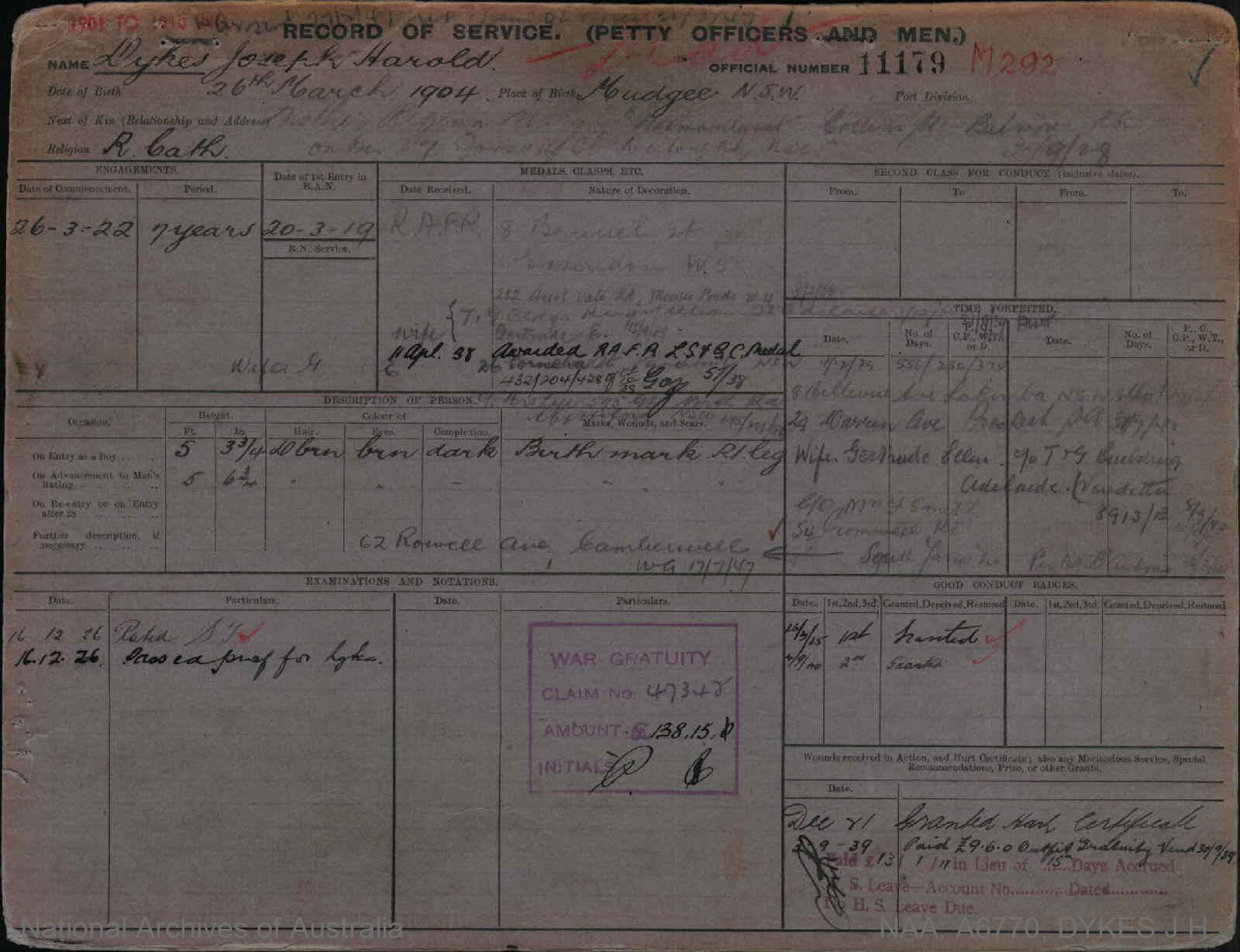 DYKES JOSEPH HAROLD : Service Number - 11179 : Date of birth - 26 Mar 1904 : Place of birth - MUDGEE NSW : Place of enlistment - Unknown : Next of Kin - GERTRUDE