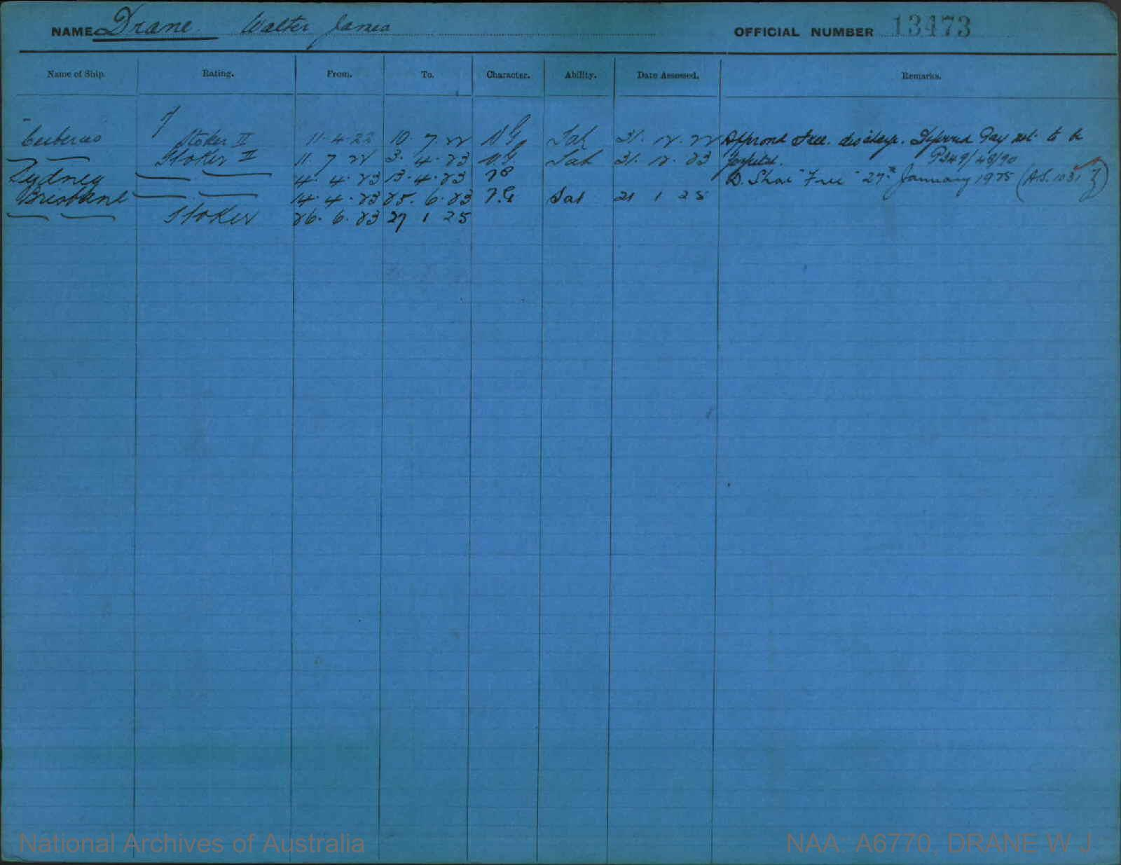 DRANE WALTER JAMES : Service Number - 13473 : Date of birth - 22 Mar 1904 : Place of birth - CALLIGNEE VIC : Place of enlistment - MELBOURNE : Next of Kin - BRENNAN M