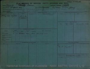 DAVIS LINDSAY GARMEN : Service Number - 17527 : Date of birth - 19 Apr 1904 : Place of birth - NARRABRI NSW : Place of enlistment - SYDNEY : Next of Kin - DAVIS FLORENCE