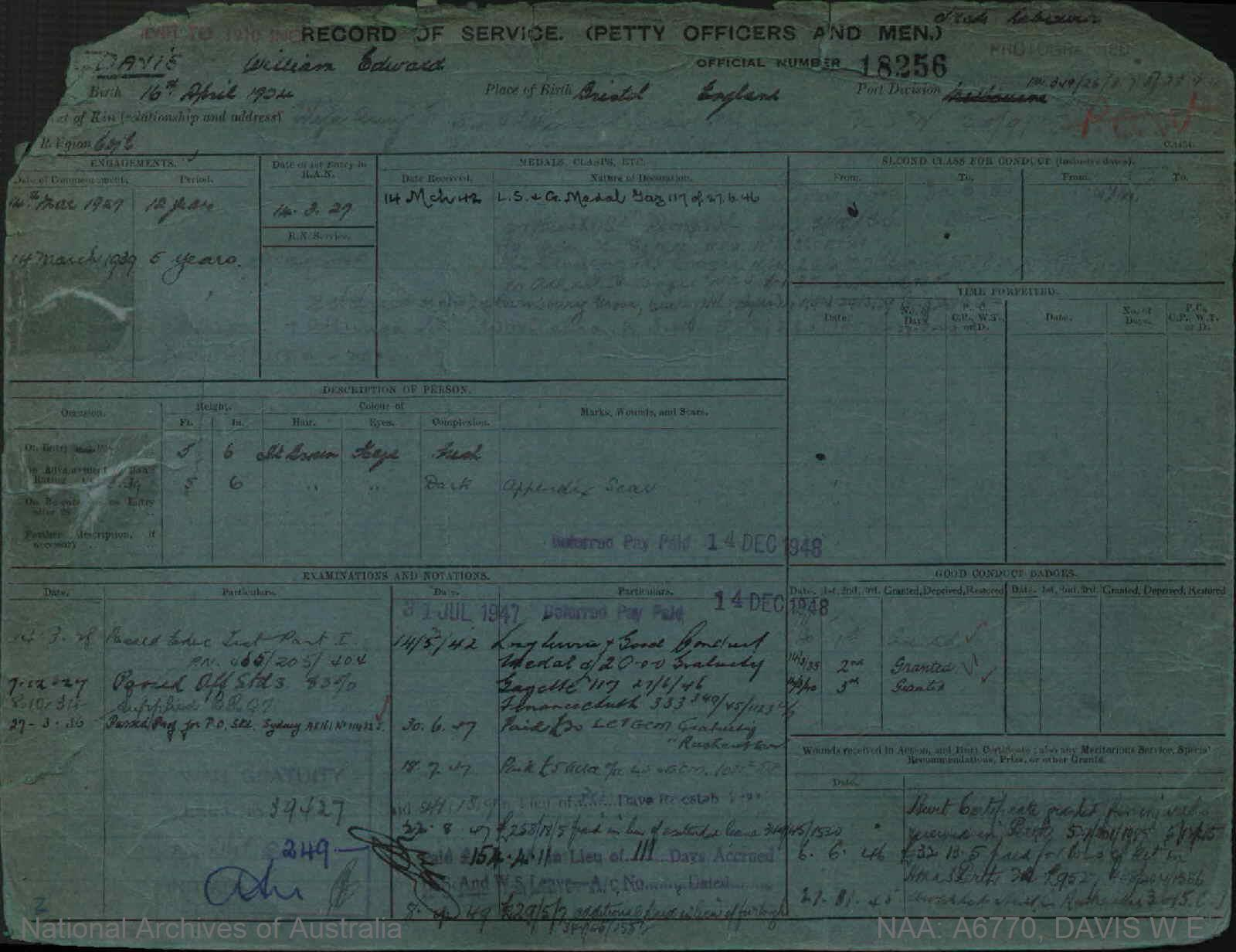 DAVIS WILLIAM EDWARD : Service Number - 18256 : Date of birth - 16 Apr 1904 : Place of birth - BRISTOL ENGLAND : Place of enlistment - Unknown : Next of Kin - DAVIS AMY