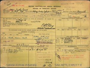 D'ARCY TIMOTHY EDWARD : Service Number - F3505 : Date of birth - 24 Mar 1904 : Place of birth - STEPNEY ENGLAND : Place of enlistment - FREMANTLE WA : Next of Kin - D'ARCY AGNES