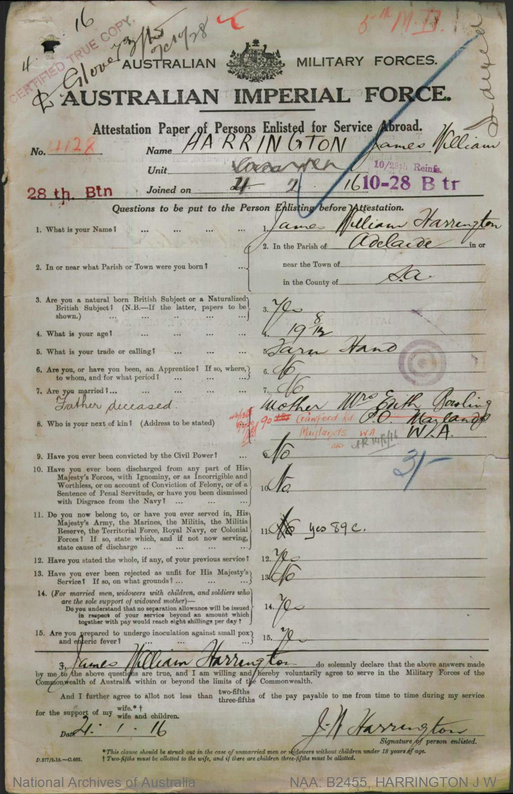 HARRINGTON James William : Service Number - 4128 : Place of Birth - Adelaide SA : Place of Enlistment - Perth WA : Next of Kin - (Mother) BOWLING Edith