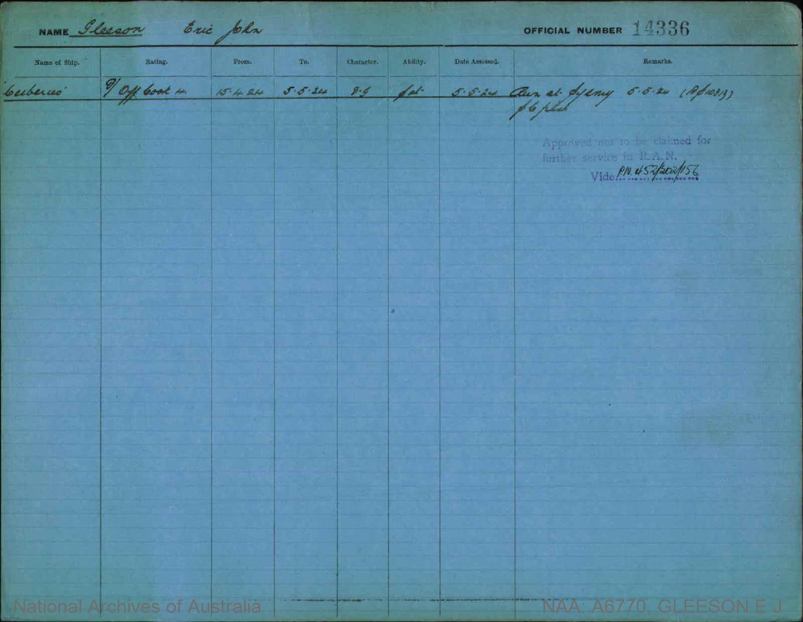 GLEESON ERIC JOHN : Service Number - 14336 : Date of birth - 29 Feb 1904 : Place of birth - RICHMOND VIC : Place of enlistment - MELBOURNE : Next of Kin - THOMPSON MAY