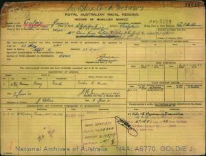 GOLDIE JAMES : Service Number - 34807 : Date of birth - 01 Apr 1904 : Place of birth - CLYDEBANK SCOTLAND : Place of enlistment - PORT MELBOURNE : Next of Kin - JOAN