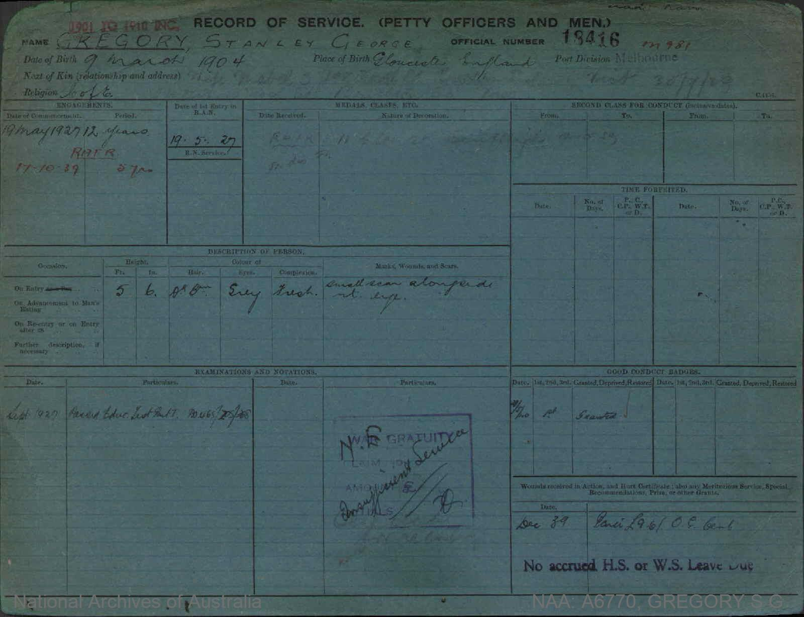 GREGORY STANLEY GEORGE : Service Number - 18416 : Date of birth - 09 Mar 1904 : Place of birth - GLOUCESTER ENGLAND : Place of enlistment - MELBOURNE : Next of Kin - MABEL