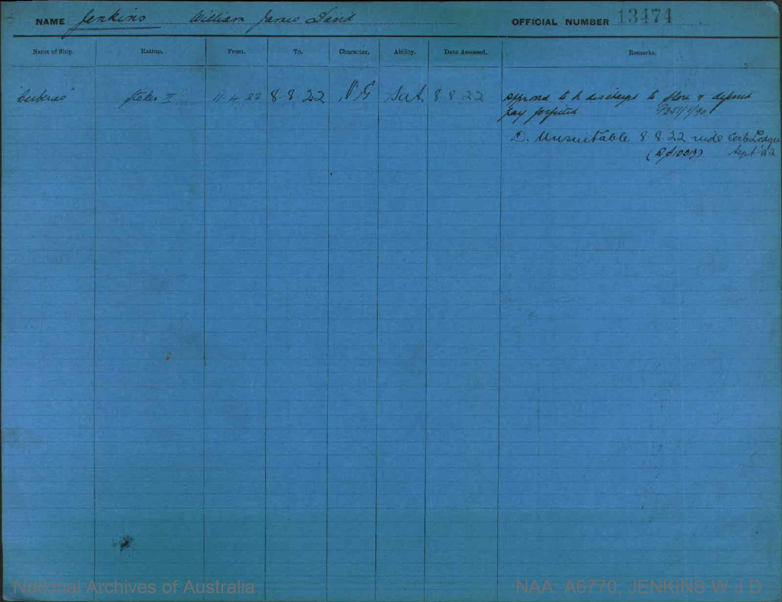 JENKINS WILLIAM JAMES DAVID : Service Number - 13474 : Date of birth - 07 Mar 1904 : Place of birth - GEELONG VIC : Place of enlistment - MELBOURNE : Next of Kin - JENKINS H