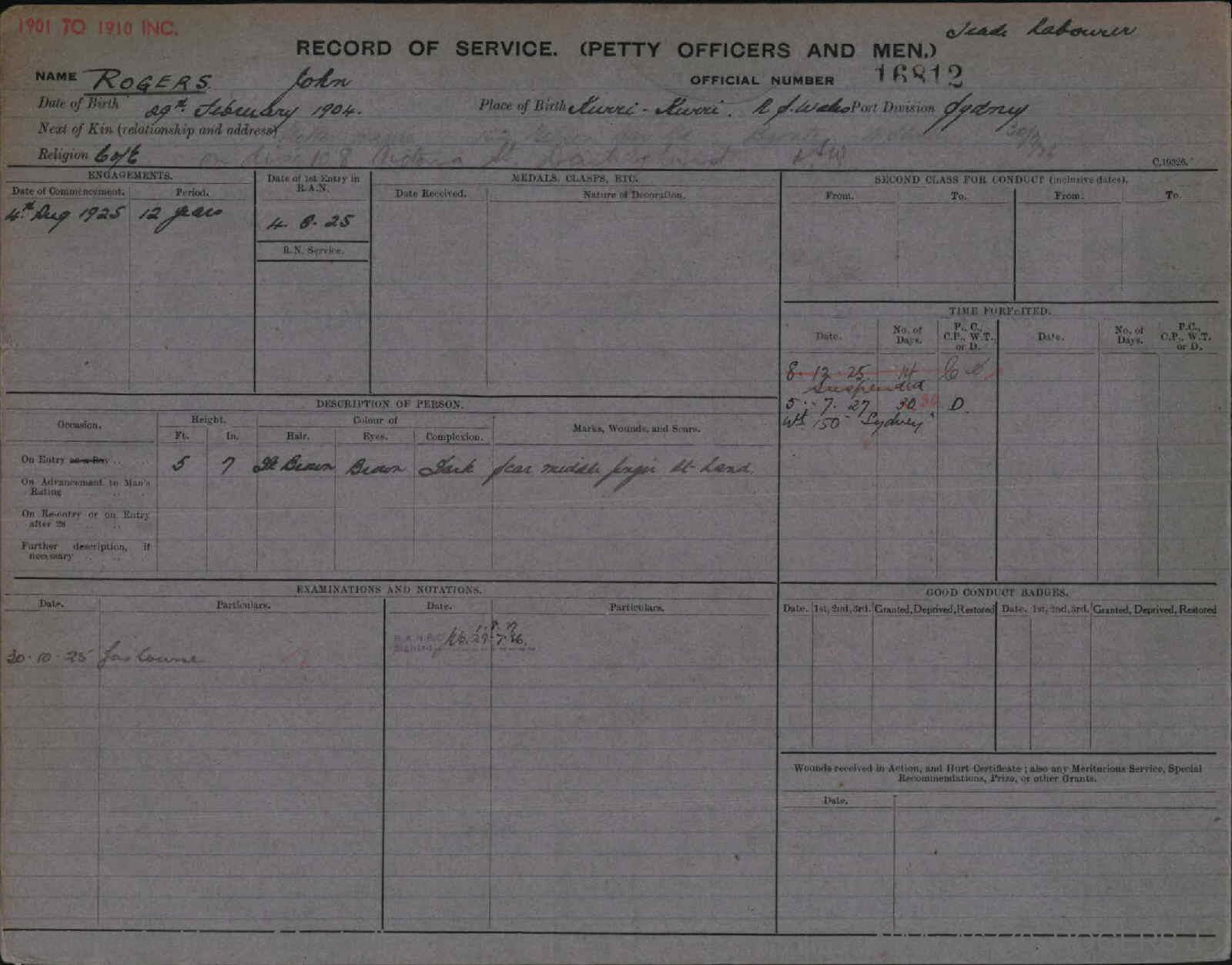 ROGERS JOHN : Service Number - 16812 : Date of birth - 29 Feb 1904 : Place of birth - KURRI KURRI NSW : Place of enlistment - SYDNEY : Next of Kin - ANNIE