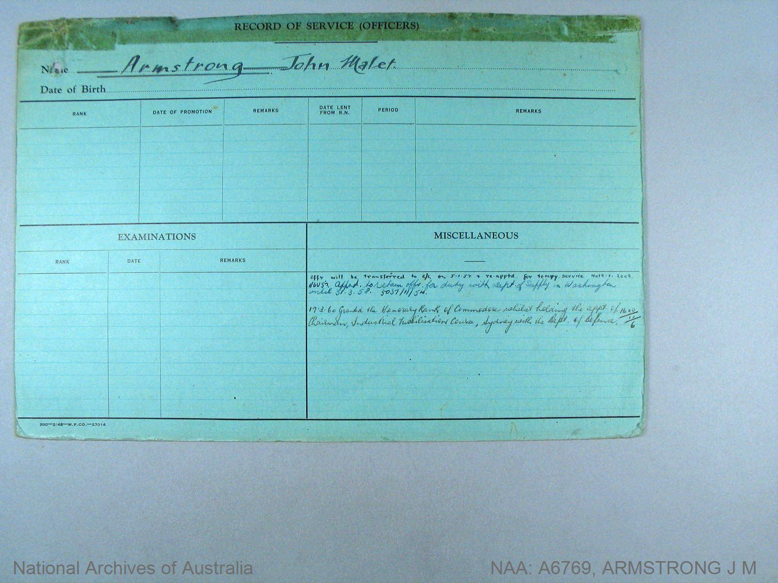 ARMSTRONG JOHN MALET : Date of birth - 05 Jan 1900 : Place of birth - SYDNEY NSW : Place of enlistment - SYDNEY : Next of Kin - PHILLIPA