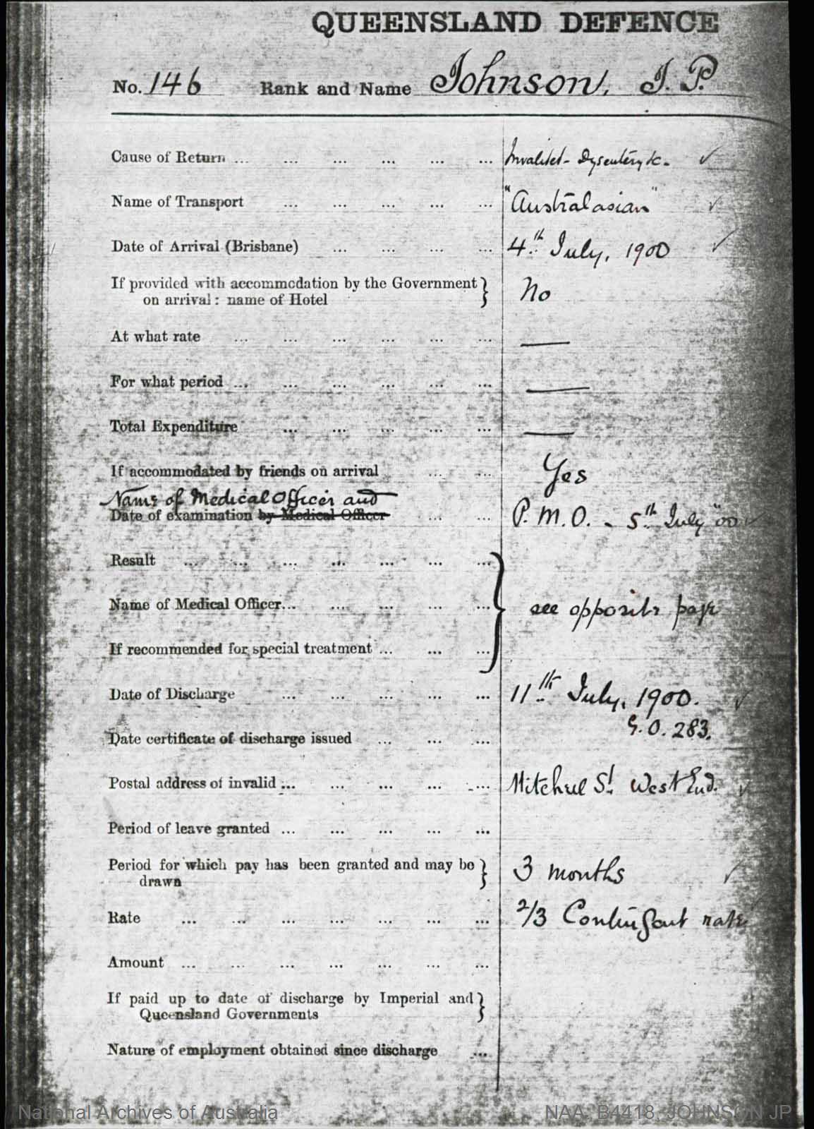 JOHNSON, JP [Regimental No.146] joined 5-7-1900 - Boer War Dossier