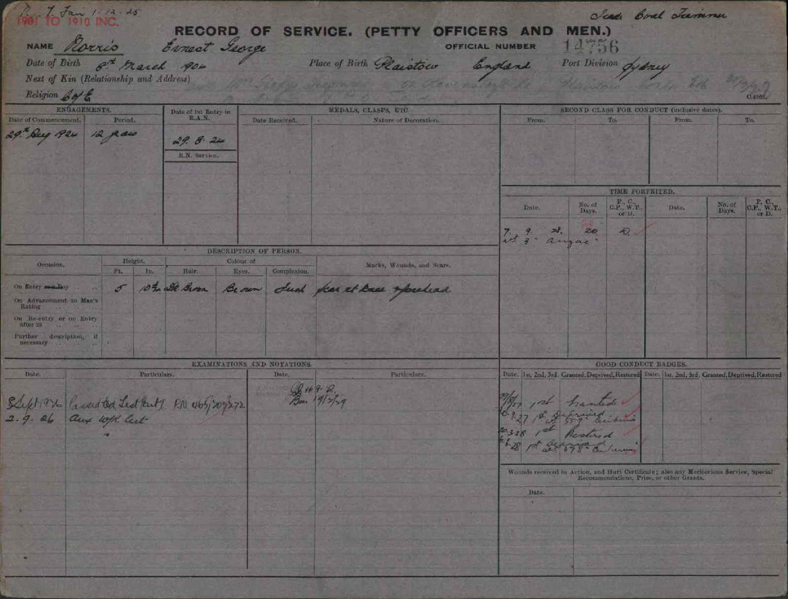 NORRIS ERNEST GEORGE : Service Number - 14756 : Date of birth - 08 Mar 1904 : Place of birth - PLAISTOW ENGLAND : Place of enlistment - SYDNEY : Next of Kin - GLADYS