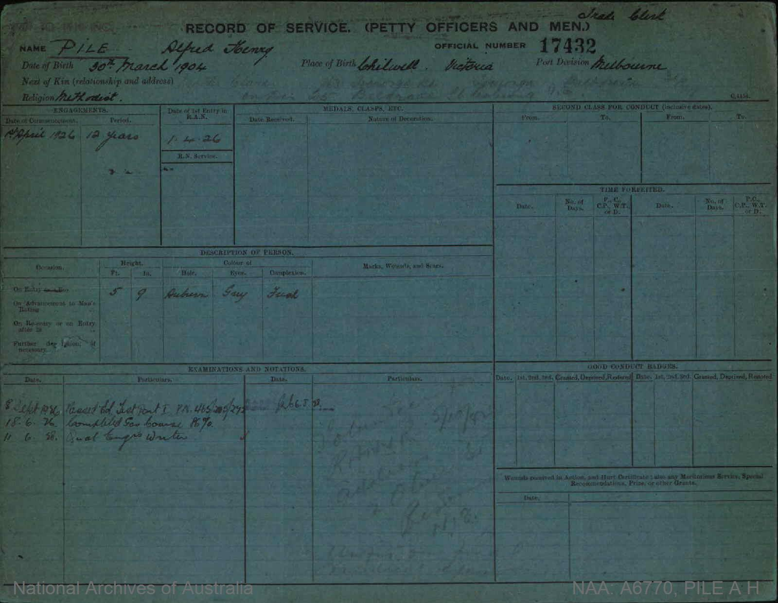 PILE ALFRED HENRY : Service Number - 17432 : Date of birth - 30 Mar 1904 : Place of birth - CHILWELL VIC : Place of enlistment - MELBOURNE : Next of Kin - CLARA