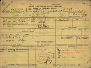 PLESTED MILTON LAURANCE : Service Number - S/V337 : Date of birth - 05 Mar 1904 : Place of birth - ADELAIDE SA : Place of enlistment - SYDNEY NSW : Next of Kin - PLESTED NELLIE