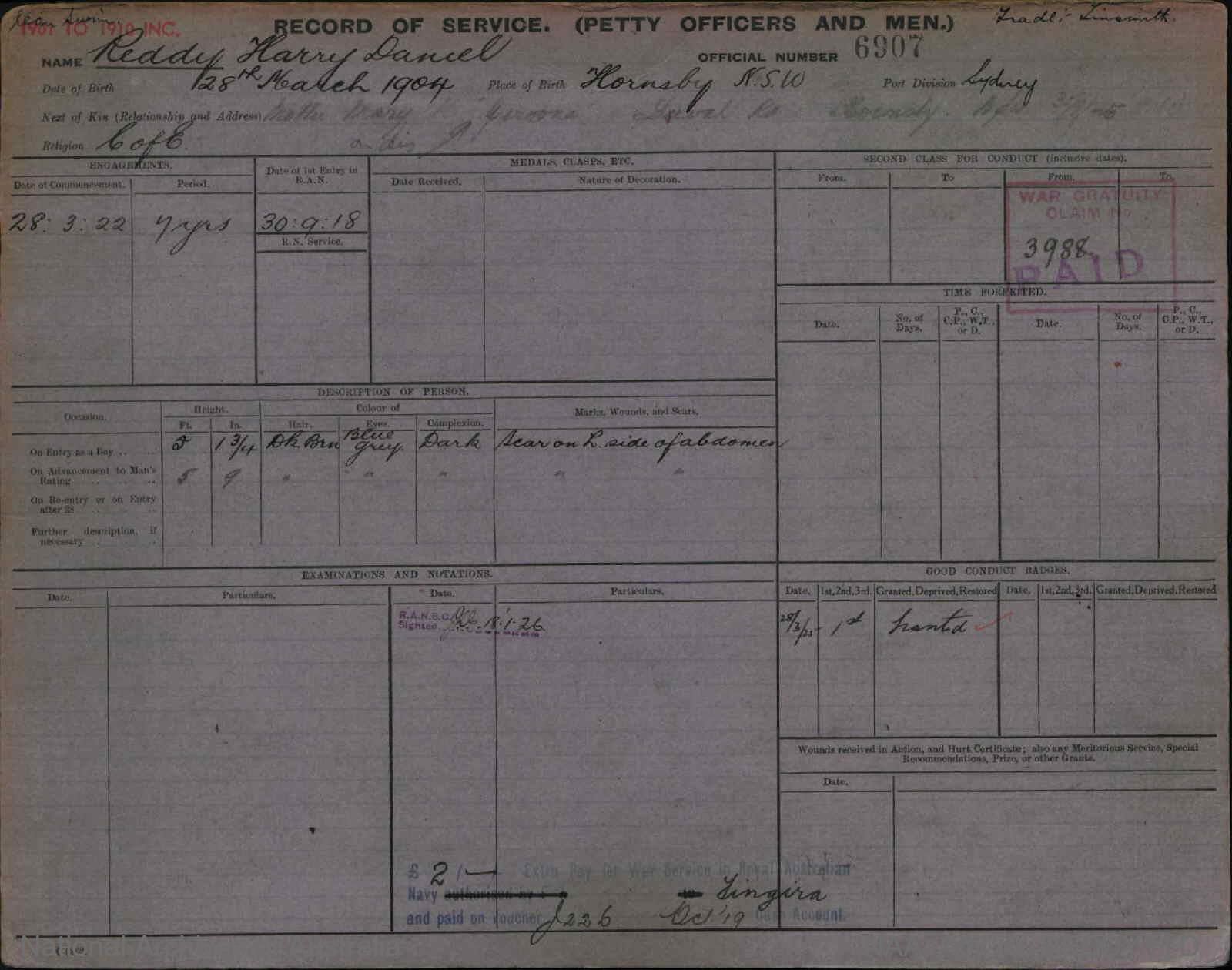 REDDY HARRY DANIEL : Service Number - 6907 : Date of birth - 28 Mar 1904 : Place of birth - HORNSBY NSW : Place of enlistment - SYDNEY : Next of Kin - MARY