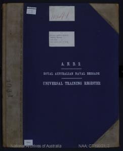 ANB2 RANR [Royal Australian Naval Reserve] Universal Training Register, Port Fairy, 1905 (Quota), year of birth