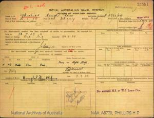 PHILLIPS HUGH PRICE : Service Number - F2752/04 : Date of birth - 26 Mar 1904 : Place of birth - ALBANY : Place of enlistment - FREMANTLE : Next of Kin - H
