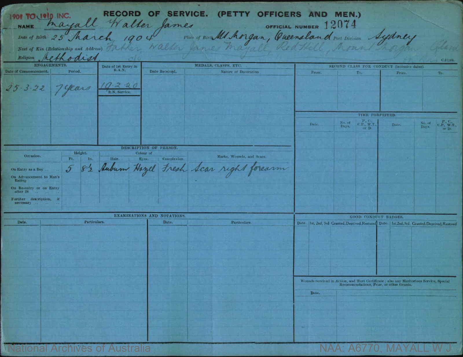 MAYALL WALTER JAMES : Service Number - 12074 : Date of birth - 25 Mar 1904 : Place of birth - MT MORGAN QLD : Place of enlistment - SYDNEY : Next of Kin - MAYALL WALTER