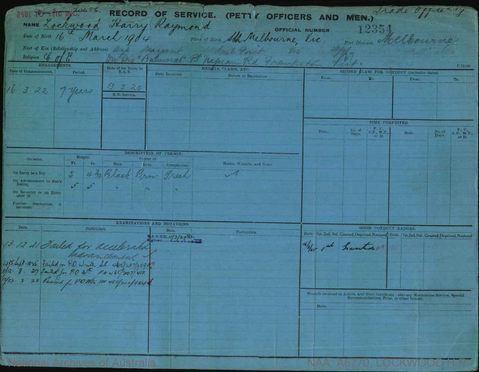 LOCKWOOD HARRY RAYMOND : Service Number - 12354 : Date of birth - 16 Mar 1904 : Place of birth - STH MELBOURNE VIC : Place of enlistment - MELBOURNE : Next of Kin - MARGARET