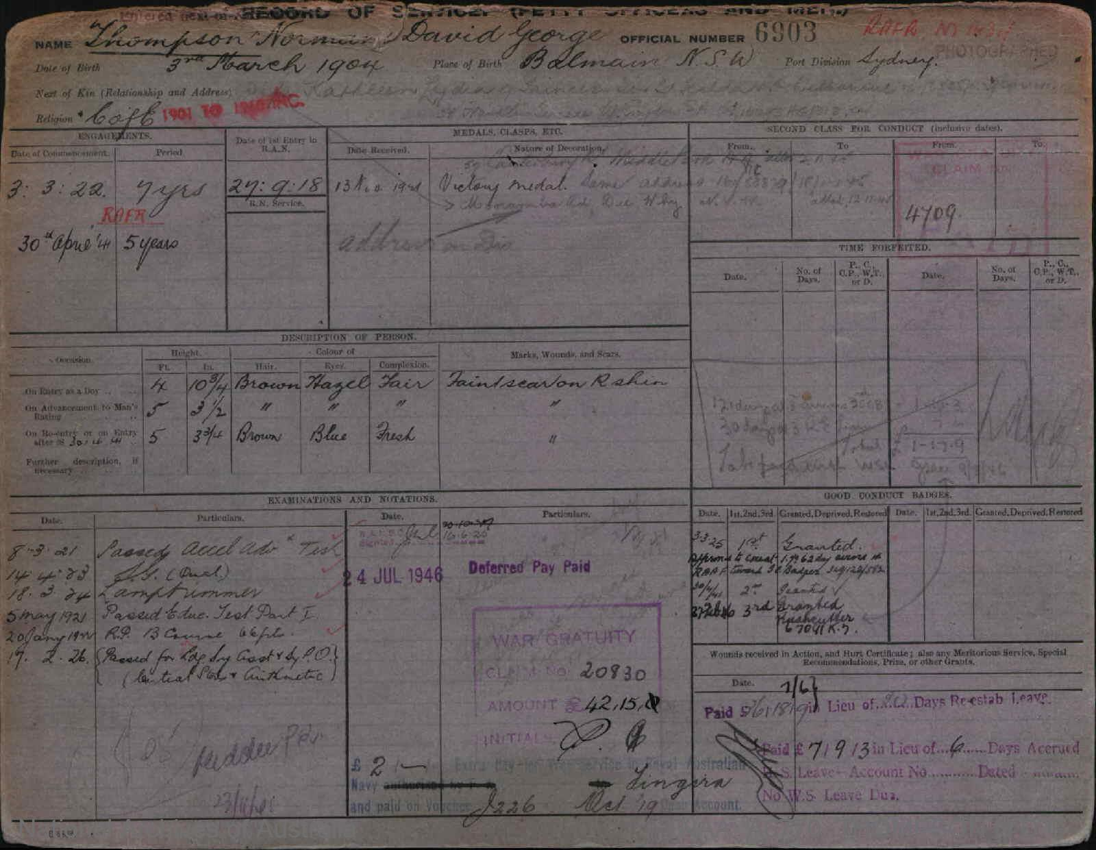 THOMPSON NORMAN DAVID GEORGE : Service Number - 6903 : Date of birth - 03 Mar 1904 : Place of birth - BALMAIN NSW : Place of enlistment - SYDNEY : Next of Kin - KATHLEEN