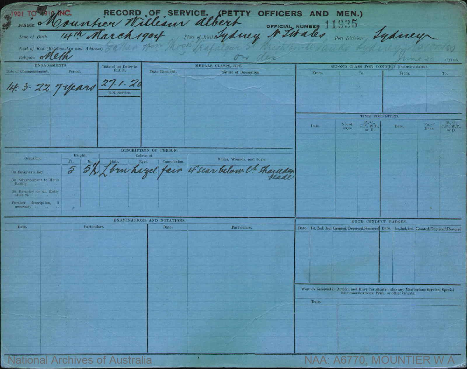 MOUNTIER WILLIAM ALBERT : Service Number - 11935 : Date of birth - 14 Mar 1904 : Place of birth - SYDNEY NSW : Place of enlistment - SYDNEY : Next of Kin - W