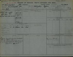 WILKINSON JOHN WILLIAM : Service Number - 10933 : Date of birth - 21 Feb 1904 : Place of birth - NOTTINGHAM ENGLAND : Place of enlistment - PORTSMOUTH : Next of Kin - ALICE
