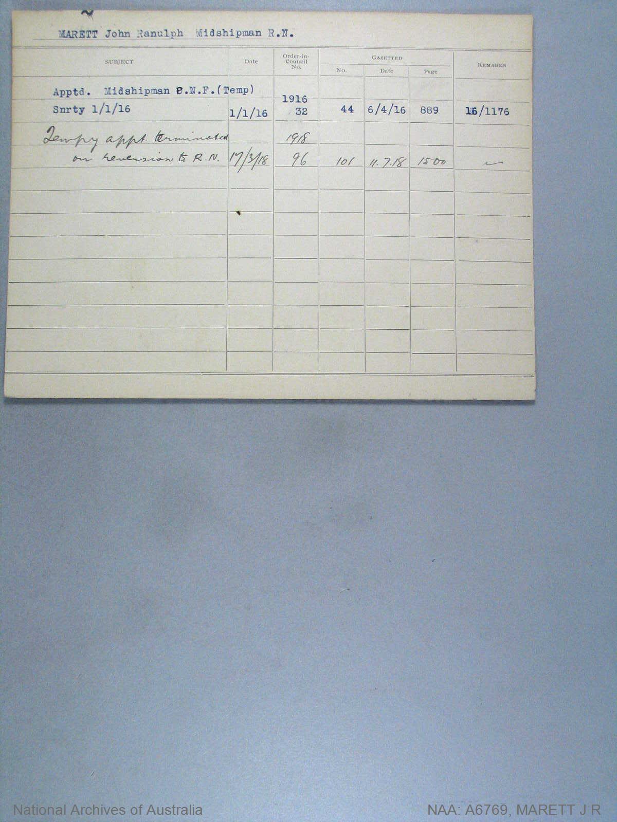 MARETT JOHN RANULPH : Date of birth - 23 Jan 1900 : Place of birth - OXFORD : Place of enlistment - Unknown : Next of Kin - MARETT R