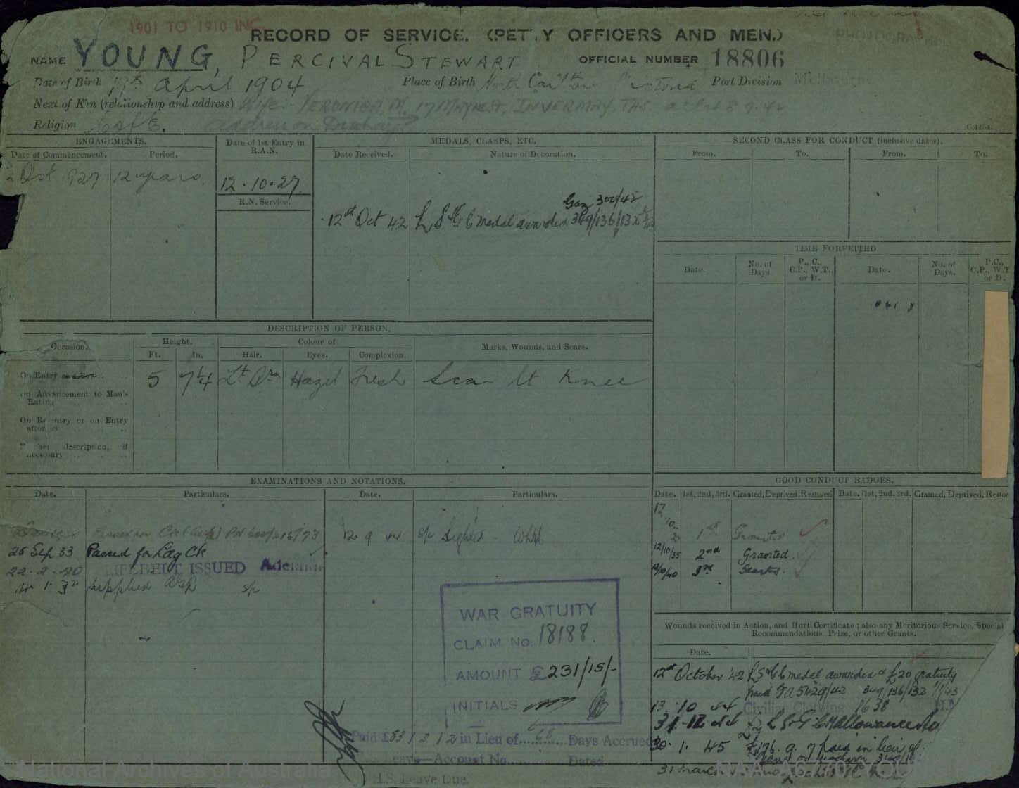 YOUNG PERCIVAL STEWART : Service Number - 18806 : Date of birth - 19 Apr 1904 : Place of birth - NORTH CARLTON VIC : Place of enlistment - MELBOURNE : Next of Kin - VERONICA