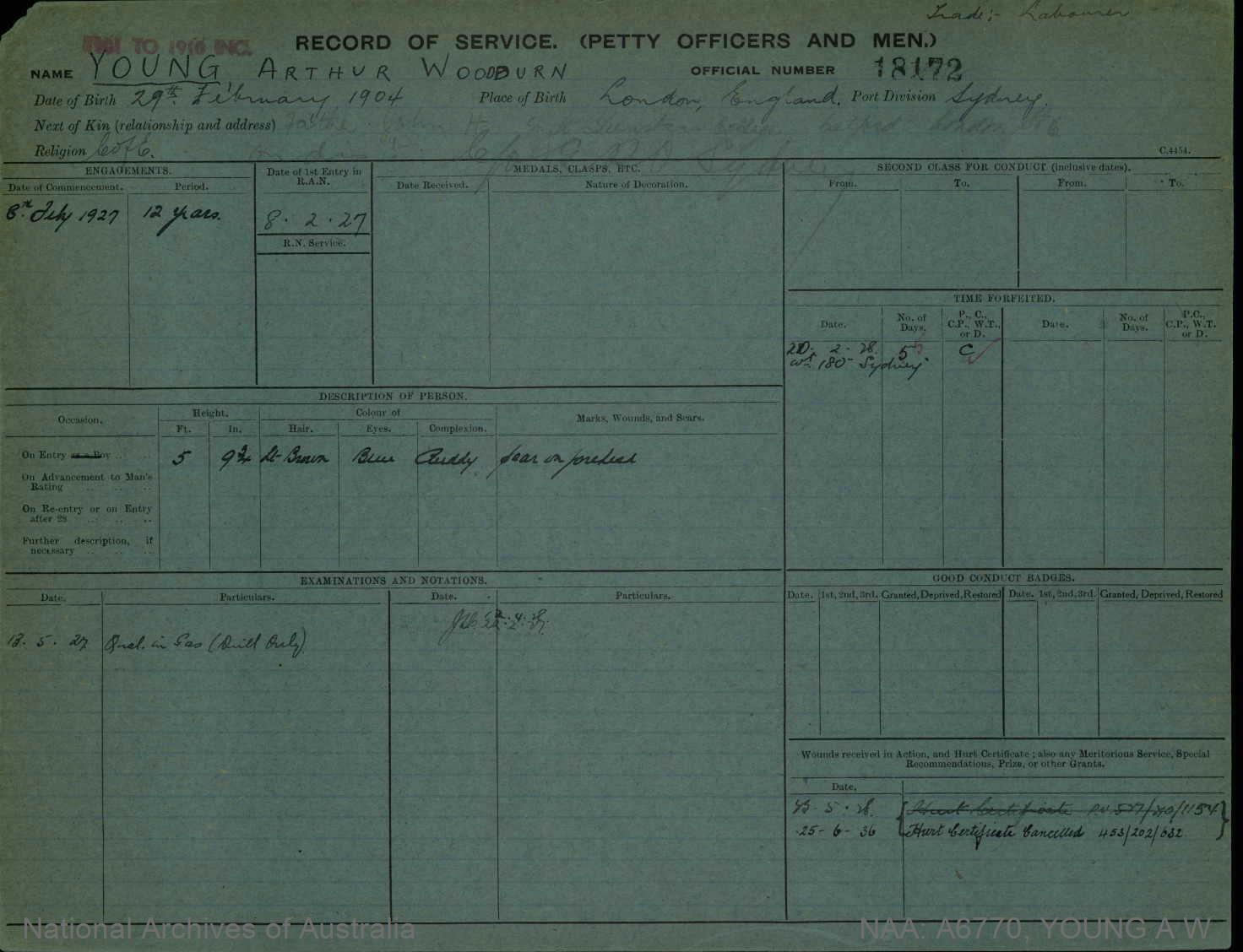YOUNG ARTHUR WOODBURN : Service Number - 18172 : Date of birth - 29 Feb 1904 : Place of birth - LONDON ENGLAND : Place of enlistment - SYDNEY : Next of Kin - JOHN