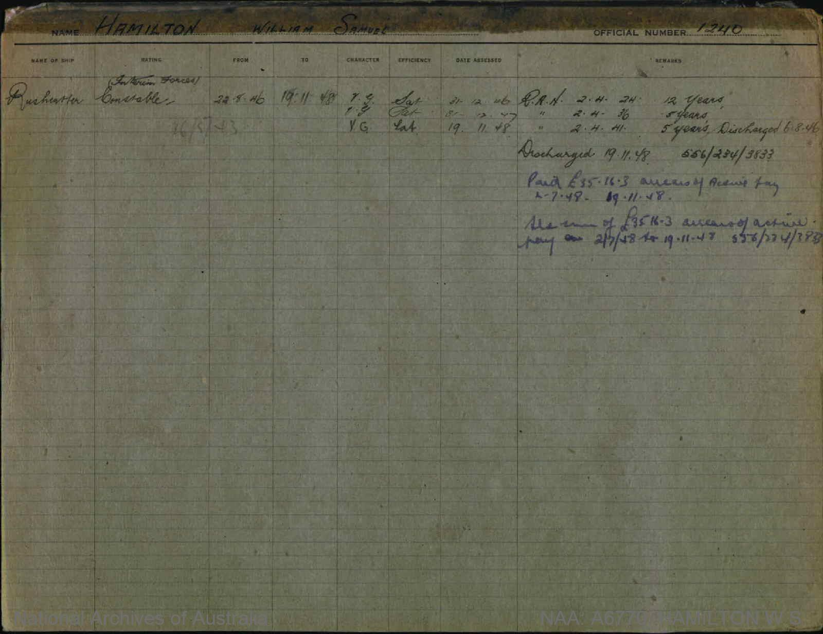 HAMILTON WILLIAM SAMUEL : Service Number - 1240 : Date of birth - 12 Apr 1904 : Place of birth - SOUTH MELBOURNE VIC : Place of enlistment - SYDNEY : Next of Kin - HAMILTON LILIAN