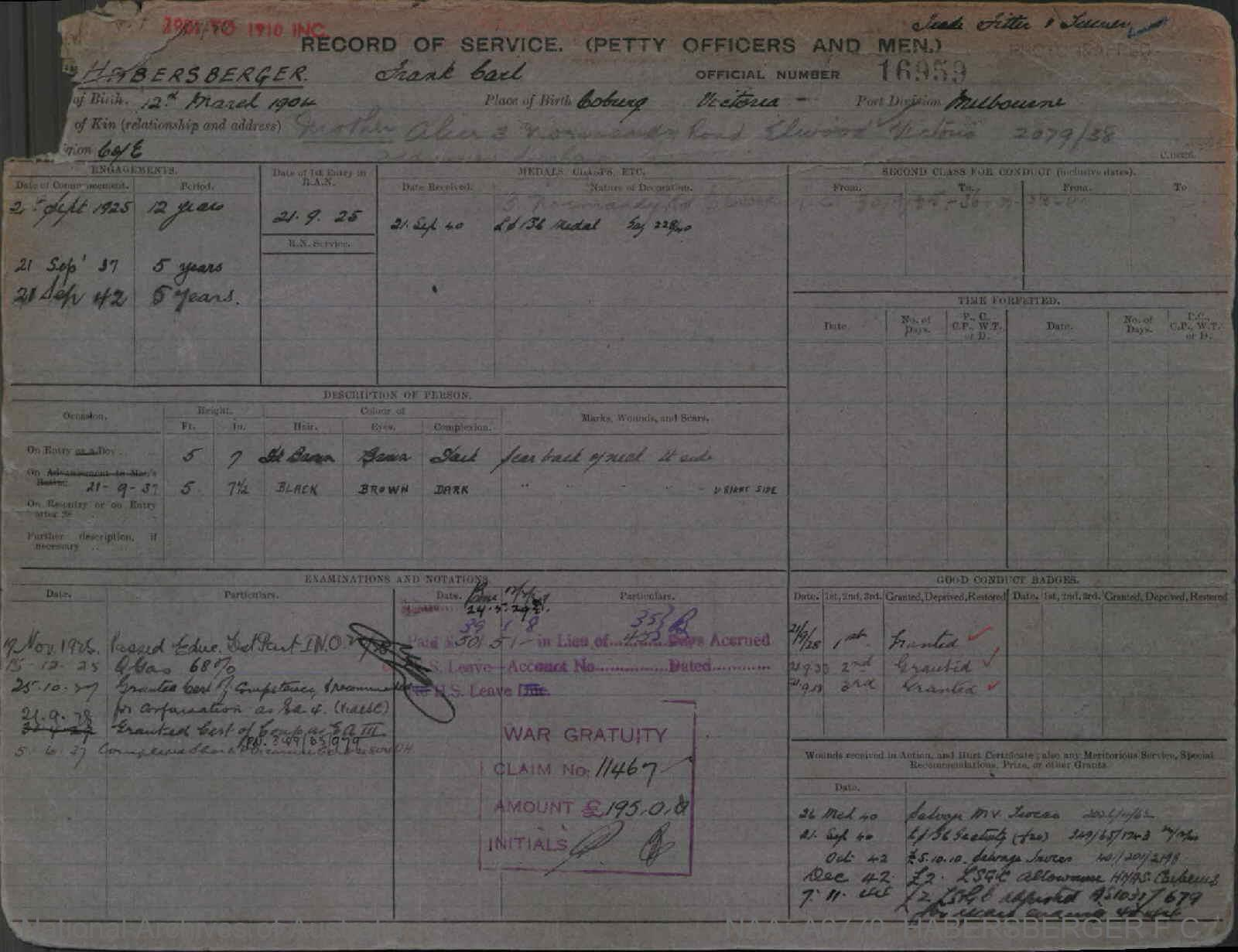 HABERSBERGER FRANK CARL : Service Number - 16959 : Date of birth - 12 Mar 1904 : Place of birth - COBURG VIC : Place of enlistment - MELBOURNE : Next of Kin - ALICE