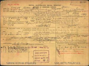 FINLAY ARTHUR GORTON : Service Number - S/3803 : Date of birth - 18 Apr 1904 : Place of birth - NEWCASTLE ENGLAND : Place of enlistment - SYDNEY NSW : Next of Kin - FINLAY LILY